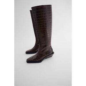Zara Animal Print Heeled Knee High Boots